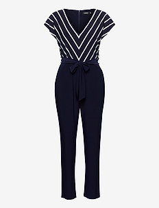 Flutter-Sleeve Jersey Jumpsuit - jumpsuits - lighthouse navy