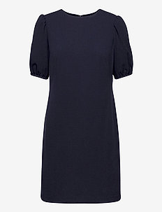 Puff-Sleeve Crepe Dress - cocktail dresses - lighthouse navy