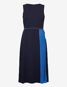 Two-Tone Crepe Fit-and-Flare Dress - cocktailjurken - lh navy/boysenber