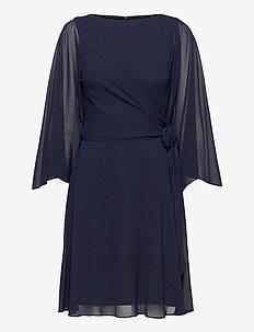 Kimono-Sleeve Georgette Dress - cocktail dresses - lighthouse navy