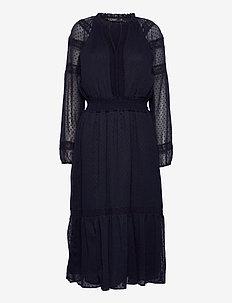 Polka-Dot Lace-Trim Dobby Dress - hverdagskjoler - lighthouse navy