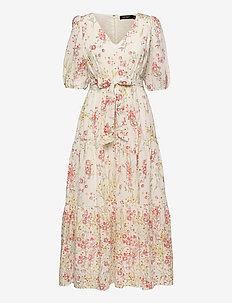Floral Cotton Voile Maxidress - robes d'été - col cream/coral/m