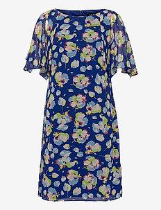 Floral Flounced-Sleeve Georgette Dress - sommerkjoler - sporting royal/bl