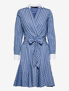 Pinstripe Cotton Poplin Shirtdress - hverdagskjoler - cabana blue/white