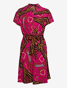 Print Belted Crepe Dress - omlottklänningar - aruba pink/lh nav