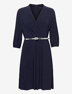 Belted Surplice Jersey Dress - robes de cocktail - lighthouse navy