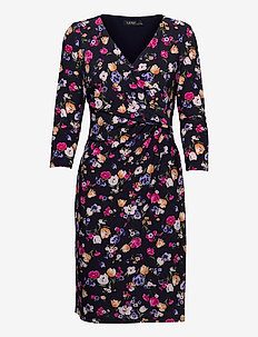 Floral Jersey Surplice Dress - hverdagskjoler - lighthouse navy/p