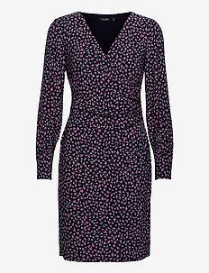 Floral Surplice Jersey Dress - hverdagskjoler - lh navy/pink/mult