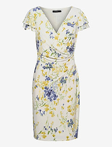 Floral Jersey Surplice Dress - everyday dresses - col cream/yellow/