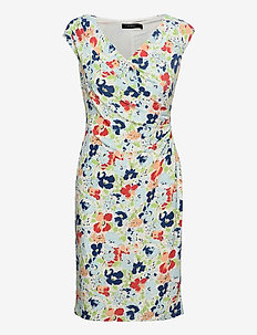 Floral Pleated Jersey Dress - everyday dresses - col cream/blue/mu