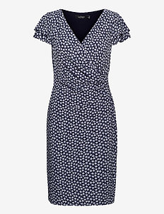 Floral Jersey Surplice Dress - summer dresses - lh navy/col cream