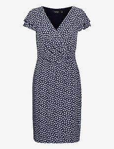 Floral Jersey Surplice Dress - sommerkjoler - lh navy/col cream