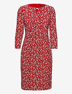 Print Wrap-Style Jersey Dress - robes de jour - lipstick red/col