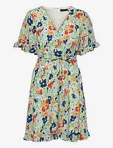 Floral Crepe Dress - sommerkjoler - colonial cream/bl