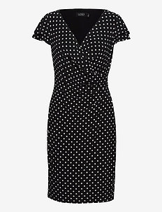 Polka-Dot Jersey Surplice Dress - robes de jour - black/colonial cr