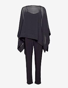 Georgette Tunic Jumpsuit - BLACK/BLACK