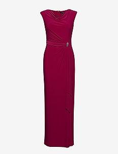 Brooch Jersey Cowlneck Gown - DARK PRIMROSE