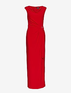 Brooch Jersey Cowlneck Gown - PARLOR RED