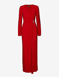 Brooch Jersey Gown - PARLOR RED