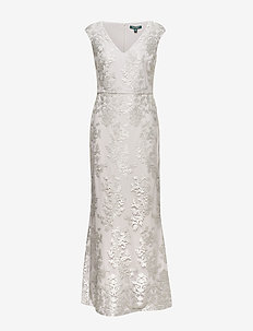 Floral Tulle Gown - lace dresses - silver