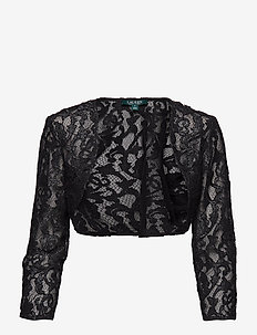 Lace Elbow-Sleeve Bolero - BLACK/SILVER