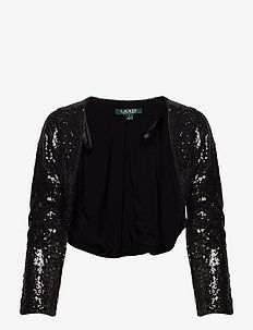 Sequined Cropped Cardigan - BLACK