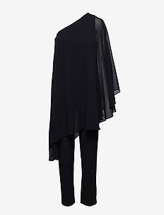 Cape One-Shoulder Jumpsuit - BLACK