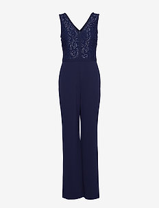 Lace-Bodice Jumpsuit - LH NAVY/SILVER