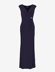 Rhinestone-Pin Jersey Gown - LIGHTHOUSE NAVY