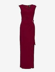 Jersey Cowlneck Evening Dress - DARK RASPBERRY