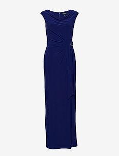 Jersey Cowlneck Evening Dress - PARISIAN BLUE