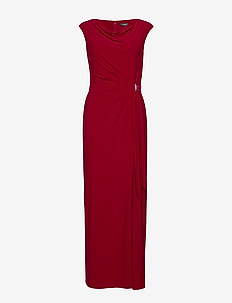 Jersey Cowlneck Evening Dress - maksimekot - scarlet red