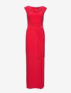 Jersey Cowlneck Evening Dress - WATERMELON