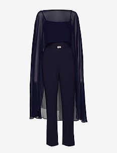 LUXE TECH CREPE-JUMPSUIT W/COMBO - LIGHTHOUSE NAVY