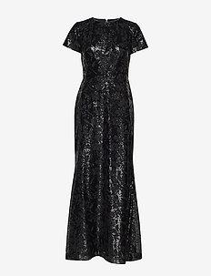 EMB SEQUIN MESH-LONG GOWN - maxi dresses - black