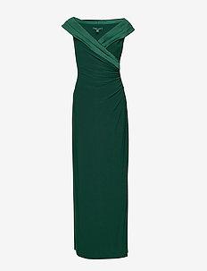 Crepe Off-the-Shoulder Gown - DARK FERN
