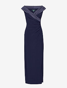 Crepe Off-the-Shoulder Gown - LIGHTHOUSE NAVY