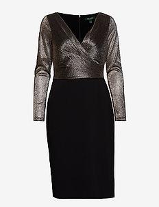 LUXE TECH CREPE-CKTL DRESS W/ COMBO - BLACK/GOLD MLTI/G