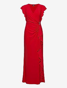Flutter-Sleeve Surplice Dress - maxikjoler - orient red