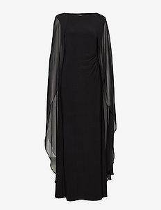 Georgette-Cape Jersey Gown - evening dresses - black