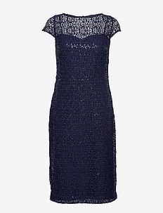 Sequined Lace Cap-Sleeve Dress - midi kjoler - lighthouse navy