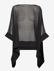 GRACEFUL CHIFFON-PONCHO - BLACK