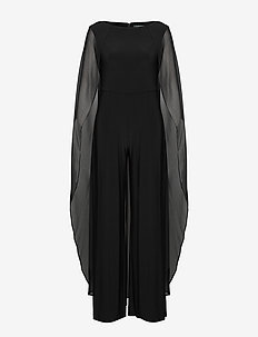 Cape Georgette Jumpsuit - haalarit - black