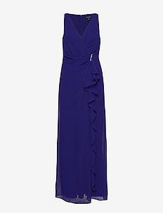 Ruffle-Trim Georgette Gown - omslagskjoler - cannes blue