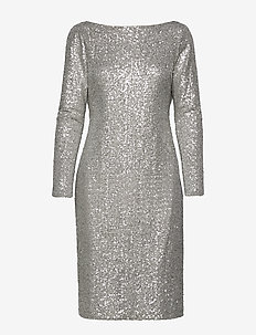 Sequined Cocktail Dress - midi dresses - silver frost shin