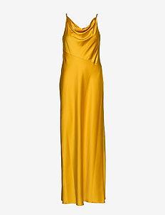 Satin Cowlneck Gown - TRUE MARIGOLD