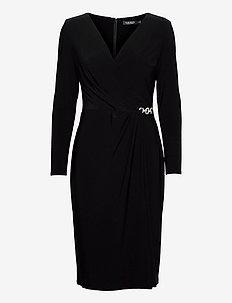 Matte Jersey Surplice Dress - cocktailkjoler - black