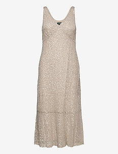 Sequin-Lace Sleeveless Dress - midi kjoler - sparkling champag