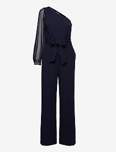 LUXE TECH CREPE-JUMPSUIT W/ CBO/EMB - buksedragter - lighthouse navy