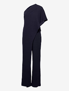 One-Shoulder Cape Jumpsuit - jumpsuits - lighthouse navy